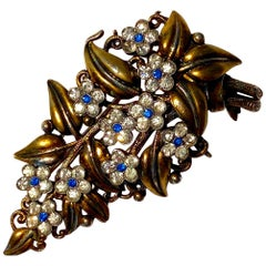 Trifari Fur Clip Brooch with Floral Crystals by Alfred Philippe circa 1930's
