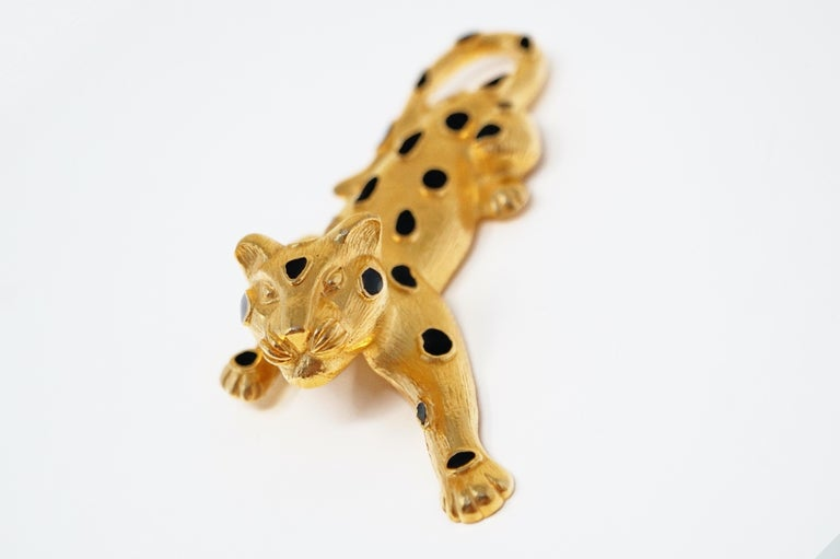 Trifari Gilded Leopard Figural Brooch with Enamel Details, circa 1980s For Sale 4
