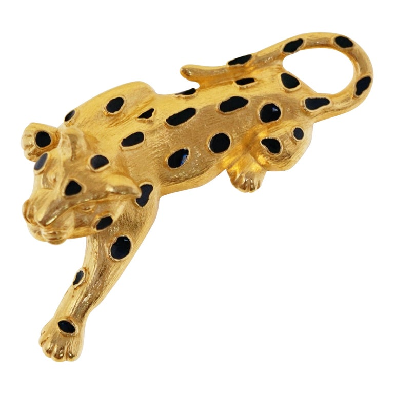 Trifari Gilded Leopard Figural Brooch with Enamel Details, circa 1980s For Sale