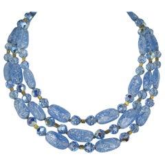 Trifari Glass 3 Strand Bib Necklace 1960s
