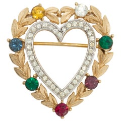 "Trifari Gold ""Dearest"" Heart Pin Brooch with Simulated Gemstones"