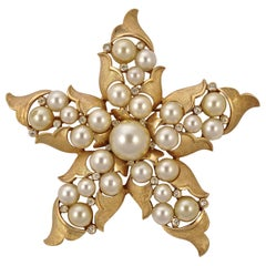 Trifari Gold Plated Faux Ivory Pearl and Clear Rhinestone Star Statement Brooch