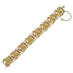 Trifari Gold Plated Faux Pearl and Leaf Link Bracelet circa 1960s