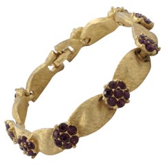 Trifari Gold Plated February Birthday Amethyst Rhinestone Ribbon Bracelet
