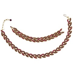 Trifari Gold Plated Purple Fuchsia Rhinestone Cavalcade Necklace Bracelet Set