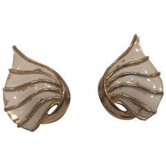 Trifari gold tone white shells clip on earrings