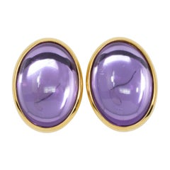 Trifari Golden Clip on Earrings with Moonglow Amethyst Cabochons, 1980s