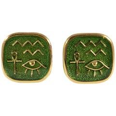 Trifari Green Egyptian Hieroglyph Clip Earrings 1970s