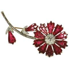 Trifari Invisibly Set Ruby Flower