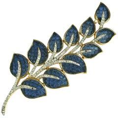 Trifari Invisibly Set Sapphire Leaf Brooch