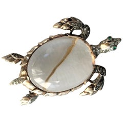 Trifari JELLY BELLY turtle brooch of gold plated Sterling 1940 USA