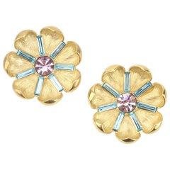 Trifari Pastel Rhinestone Flower Brooches, a Pair