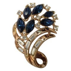 """Trifari Retro Yellow """"Bouquet"""" Brooch with Focal Marquise Cut"""