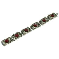Trifari Ruby Art Deco Bracelet, Alfred Phillipe