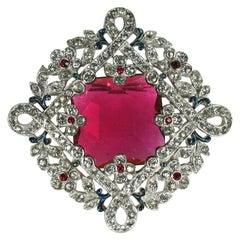 Trifari Ruby Art Deco Brooch