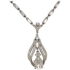 Trifari Silver Tone Rhinestone Tremblant Pendant and Necklace circa 1950s