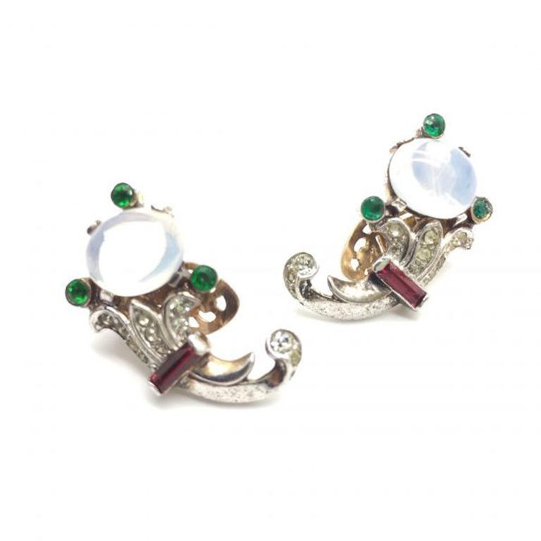 Women's Trifari Talisman Alfred Philippe Sterling Silver Faux Moonstone Earrings For Sale