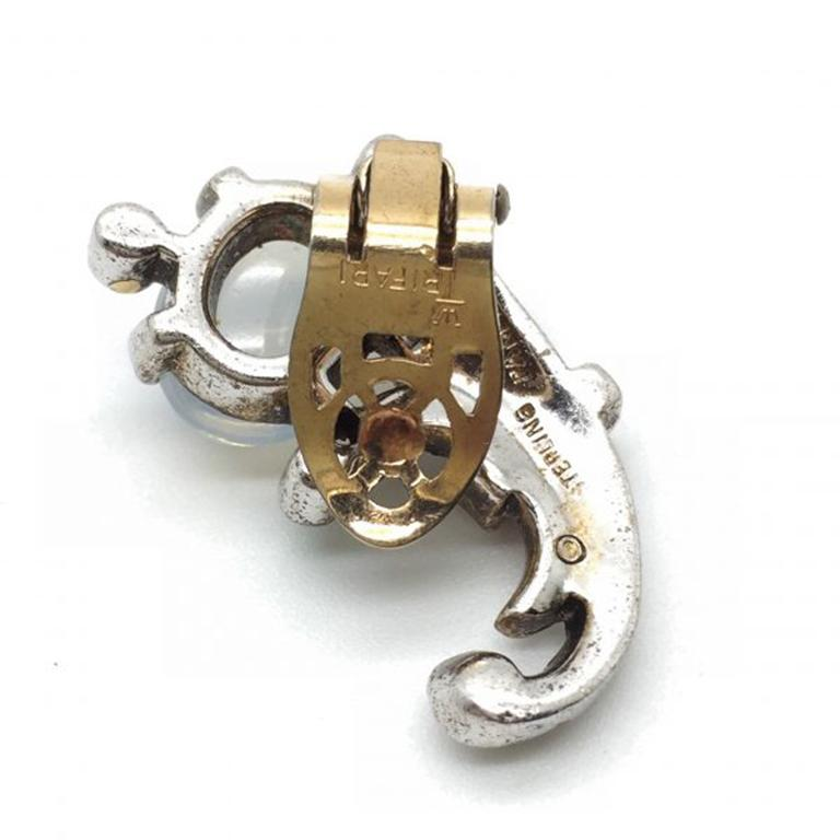 Trifari Talisman Alfred Philippe Sterling Silver Faux Moonstone Earrings For Sale 1