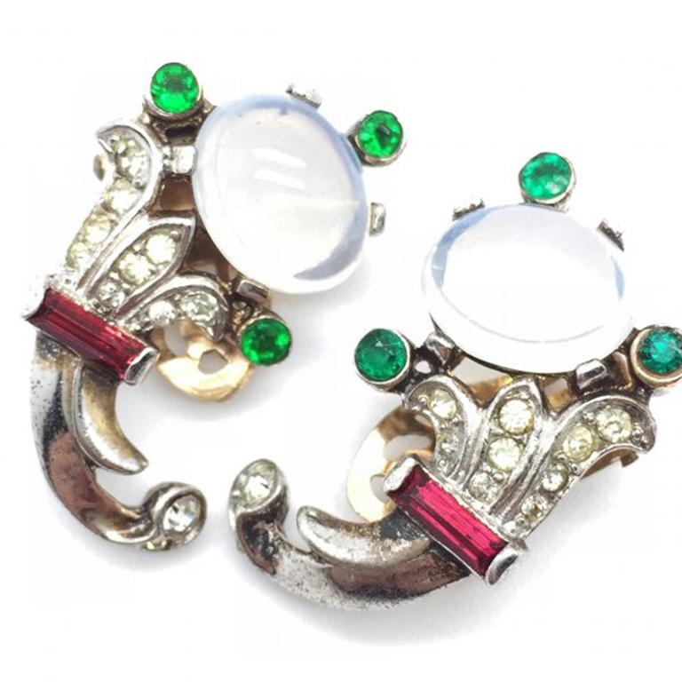 Trifari Talisman Alfred Philippe Sterling Silver Faux Moonstone Earrings For Sale 2