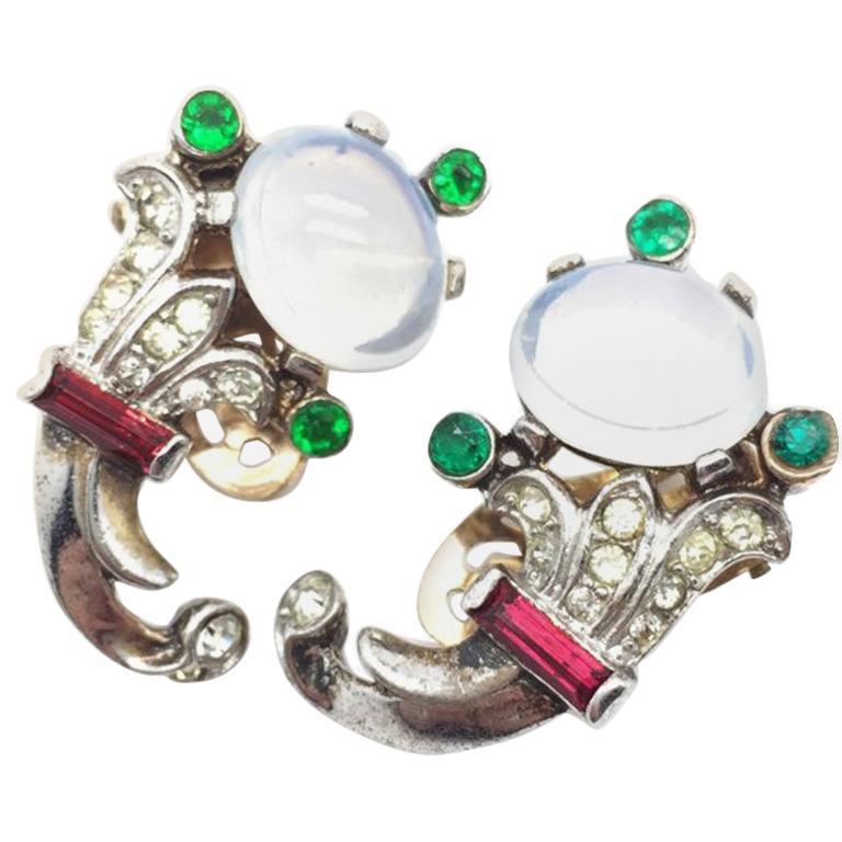 Trifari Talisman Alfred Philippe Sterling Silver Faux Moonstone Earrings For Sale