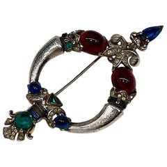 Trifari Tanjore Sterling Siver Brooch from 1945