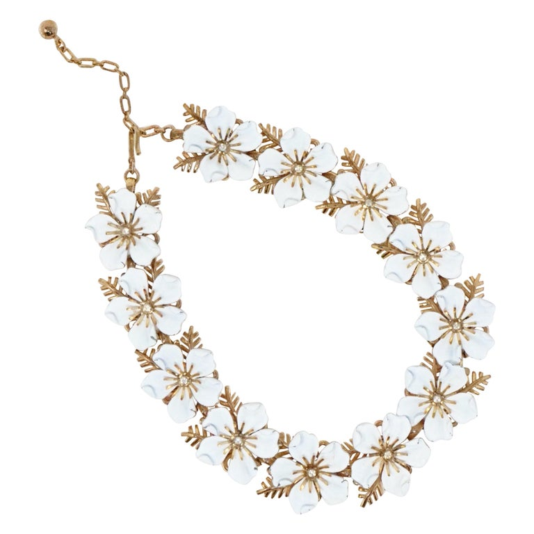 Trifari White Enamel Flower Choker Necklace, circa 1960s For Sale