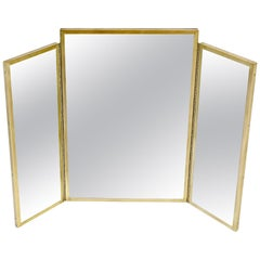 Trifold Brass Wall or Freestanding Dresser Top Mirror