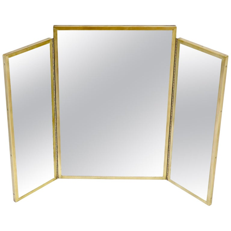 Trifold Brass Wall Or Freestanding, Brass Tri Fold Dressing Table Mirror