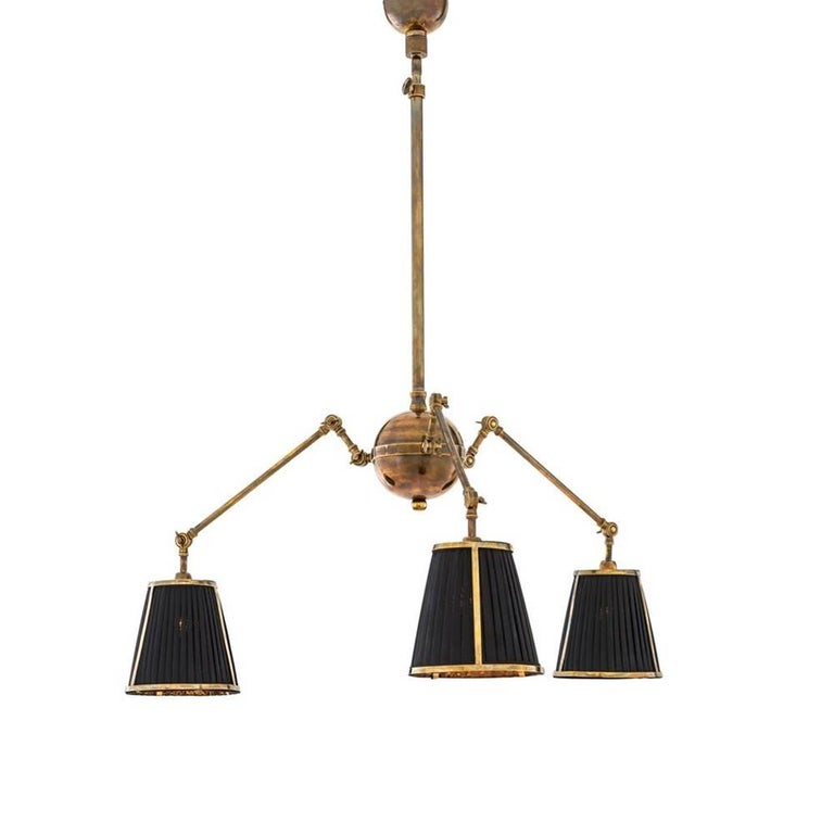 Trilight Ceiling Lamp in Vintage Brass or in Nickel Finish