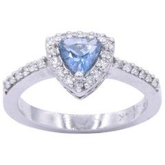 Trillion Cut Aquamarine Diamond Halo Ring 0.65 Carats 14k