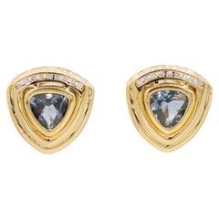 Trillion Cut Blue Topaz Diamond Earrings