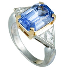 Trillion Cut Diamond and Cushion Sapphire Platinum and Yellow Gold Ring
