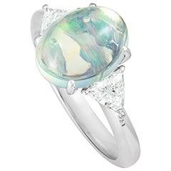 Dreieckschliff Ovale Opal Diamanten Platin Ring