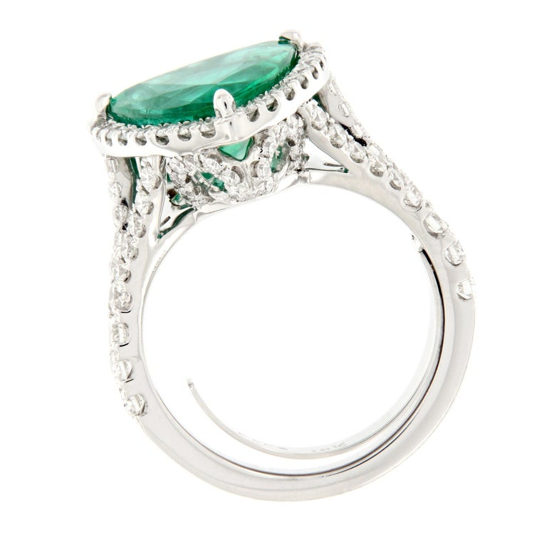 Women's Trillion Cut Emerald Diamond White Gold Cocktail Ring For Sale