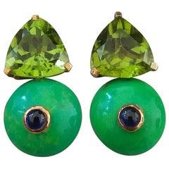 Trillion Cut Peridot Turkmenistan Green Turquoise Blue Sapphire Gold Earrings