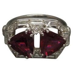 Trillion Cut Rubellite and Diamond Platinum Ring