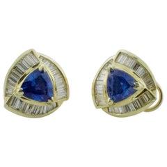 Trillion Cut Sapphire and Diamond Earrings in 18 Karat
