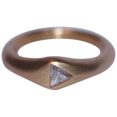 Trillion Diamond Yellow Gold Ring