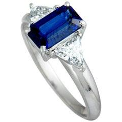 Trillion Diamonds and Rectangle Sapphire Platinum Ring