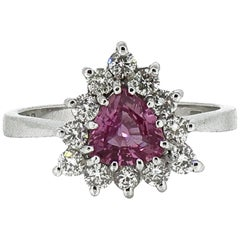 Trillion Pink Sapphire and Diamond Claw Set Cluster Ring 18 Karat White Gold