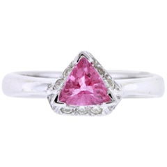 Trillion Pink Sapphire Halo Engagement Ring