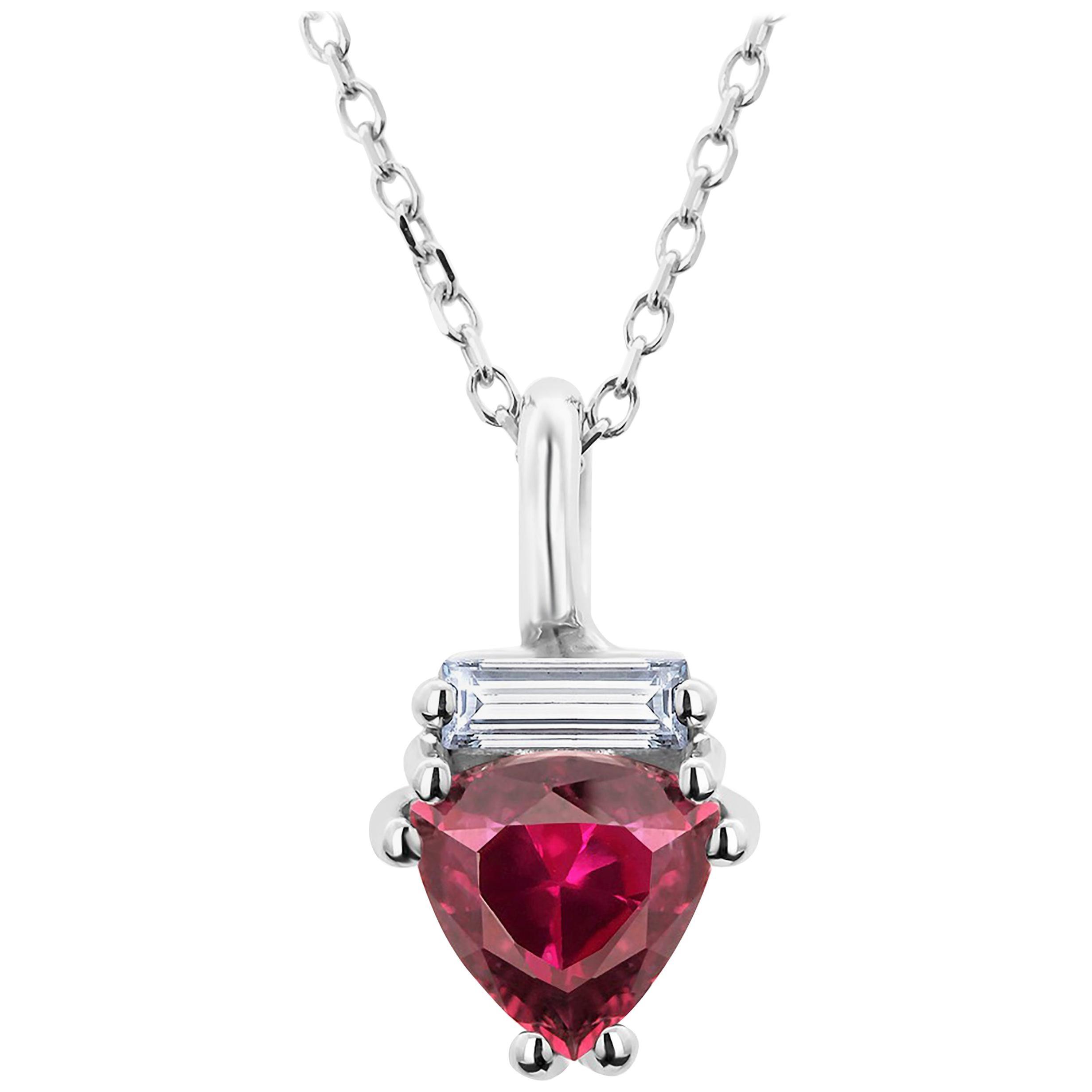 Trillion Shape Red Burma Ruby and Baguette Diamond Gold Drop Necklace Pendant