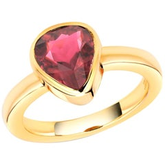 Trillion Shape Rubellite Bezel Raised Dome Yellow Gold Cocktail Ring