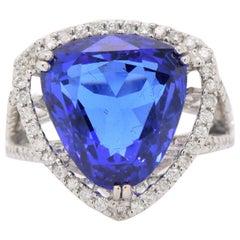 Trillion Tanzanite Cocktail Ring with Diamond Accents
