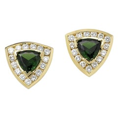 Trillion Tsavorite and Diamond Stud Earrings, Gold, Ben Dannie