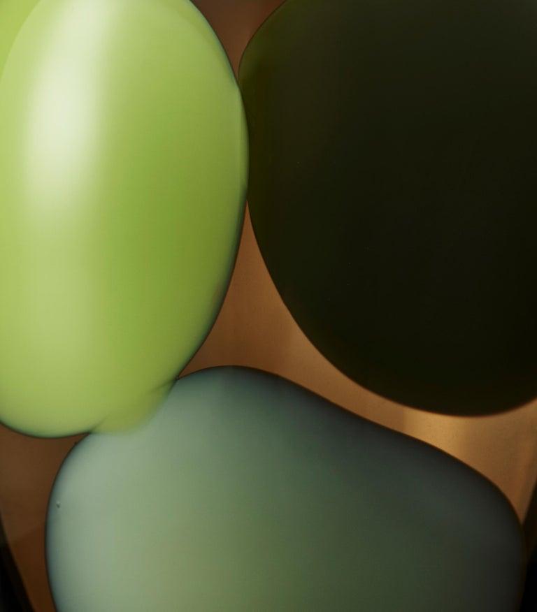 Contemporary Trillium, a Unique Tobacco Brown, Green & Alabaster Glass Vase by Gunnel Sahlin For Sale