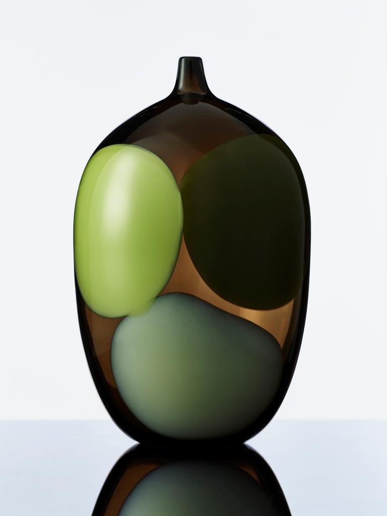Art Glass Trillium, a Unique Tobacco Brown, Green & Alabaster Glass Vase by Gunnel Sahlin For Sale