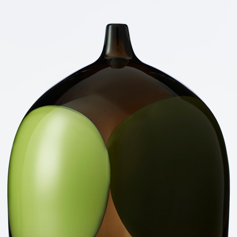Trillium, a Unique Tobacco Brown, Green & Alabaster Glass Vase by Gunnel Sahlin In New Condition For Sale In London, GB