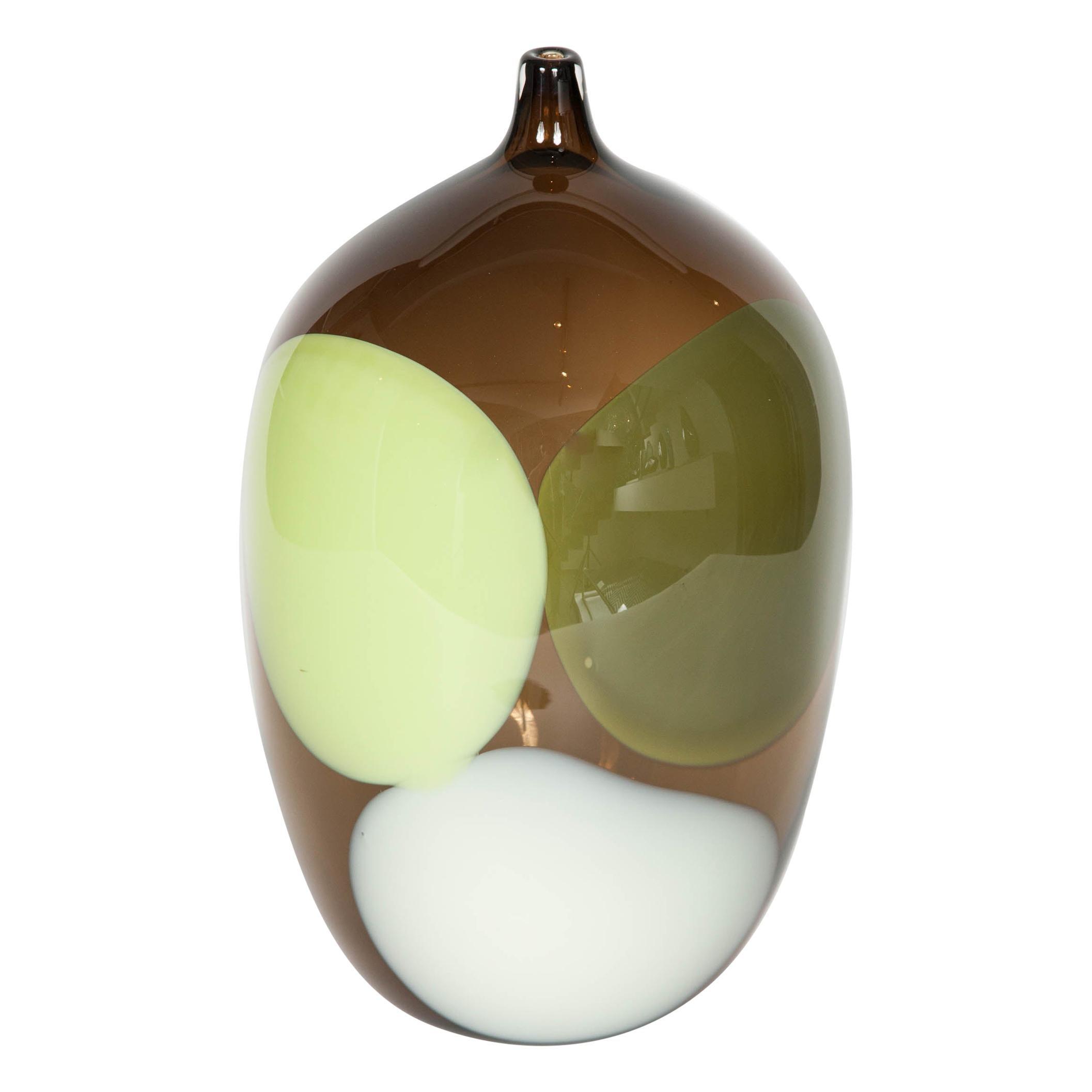 Trillium, a Unique Tobacco Brown, Green & Alabaster Glass Vase by Gunnel Sahlin