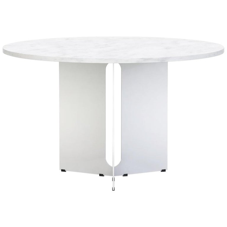 """Trilo Round Table 60"""", Carrara Marble For Sale"""